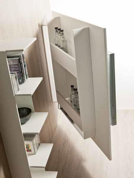 Mobile porta-tv in acciaio, con base girevole | IDFdesign