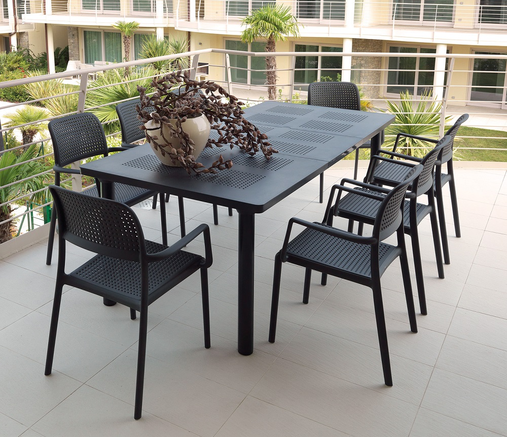 Tavoli Da Giardino Allungabili Nardi.Set Tavolo Libeccio Allungabile E 8 Sedia Bora Nardi